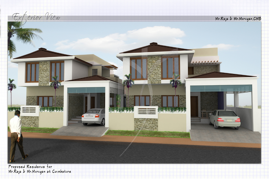 Higher archi architect interior designer trichy for Twin home plans