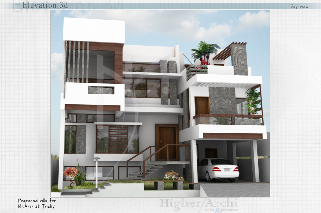 Trichy House Front Elevation : Higher archi architect interior designer trichy