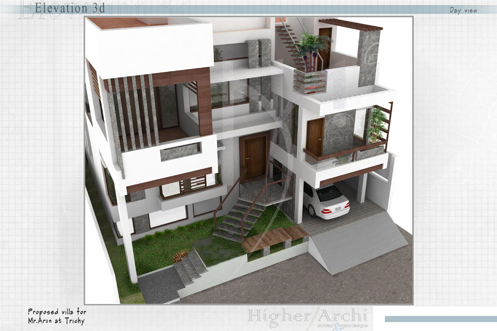 Mezzanine Floor Elevation : Higher archi architect interior designer trichy